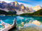 منظره کوهستان و دریاچه زیبا