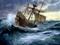 نقاشی کشتی قدیمی در طوفان