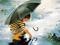 نقاشی پسر بچه با چتر