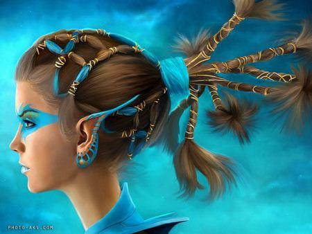 دختر فانتزی آبی blue fantazy girl