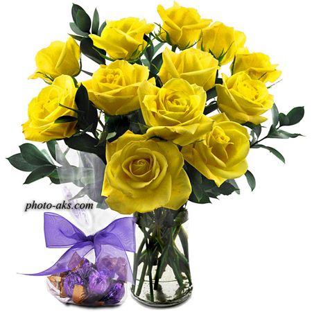 دسته گل رز زرد aks daste gole roze zard