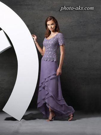 لباس مجلسی پوشیده بنفش violet dress woman