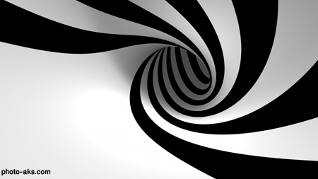 حلقه پیچی سیاه و سفید سه بعدی 3d black white spiral