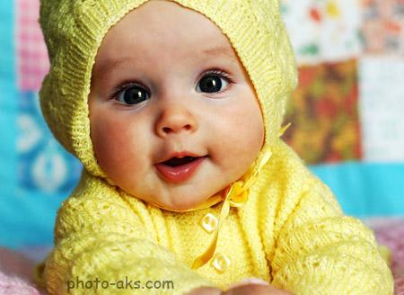 عکس بچه ناز و خوشگل baby yellow dress