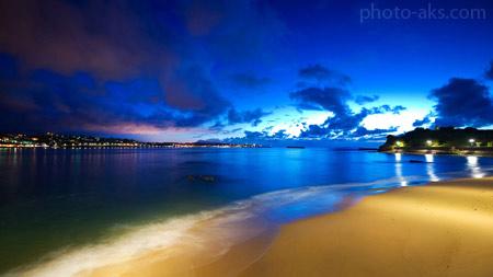 منظره زیبا ساحل آبی فیروزه ای beach blue sky