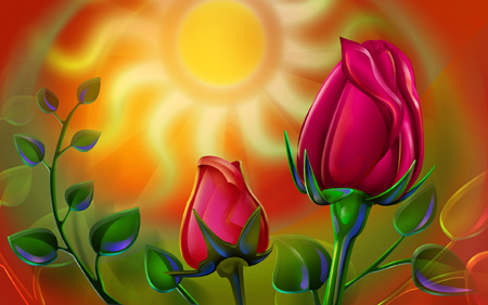 نقاشی غنچه گل رز زیبا blooming rose
