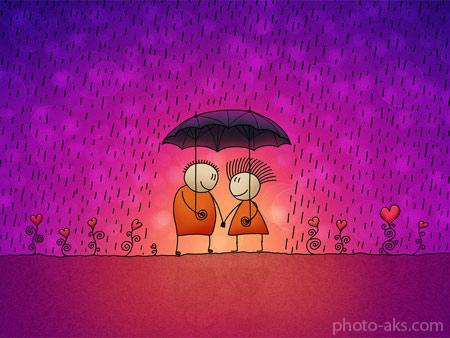 عکس رمانتیک بارانی کارتونی cute romantic wallpaper