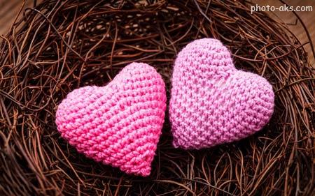 دو قلب صورتی عاشق hearts pink love