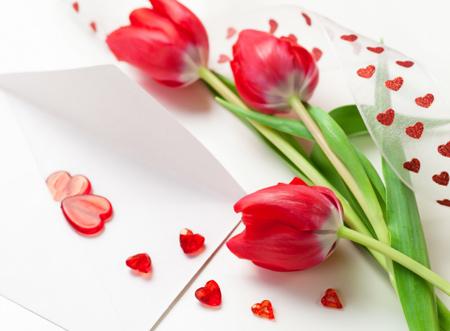 پوستر شاخه گل های لاله قرمز love tulips flowers