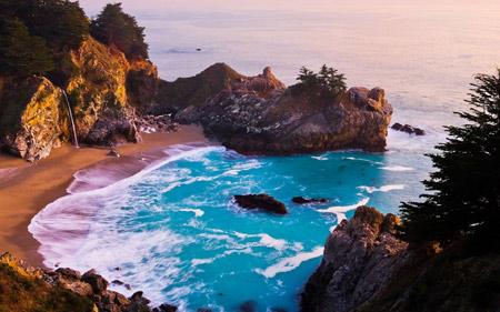 منظره زیبای آبشار مک وی امریکا mcway fall california landscape