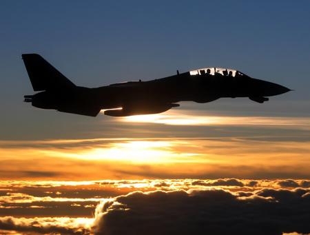 پرواز هواپیما جنگنده در غروب خورشید plane fighter jet sunset