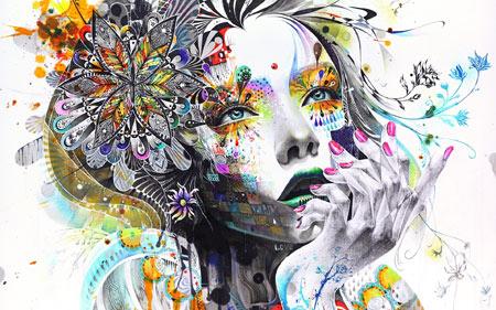 نقاشی انتزاعی دختر و گل abstraction painting girl flower
