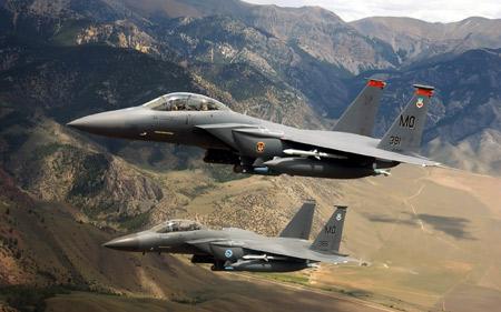جنگنده های نظامی اف 15 aircraft sky mountains fighter