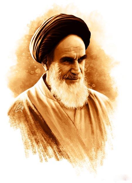 عکس پرتره گرافیکی امام خمینی aks gerafiki emam khomeini