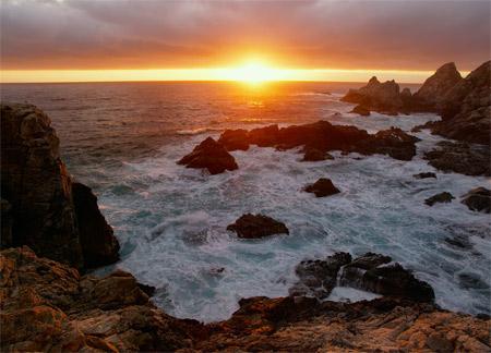 منظره امواج اقیانوس در غروب amvaj ogyanos