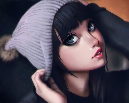 عکس انیمه دختر کارتونی زیبا anime girl face beauty