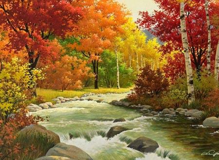 نقاشی رود و درختان پاییزی زیبا autumn landscape painting