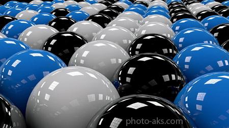 والپیپر سه بعدی کامپیوتری balls rows white blue black