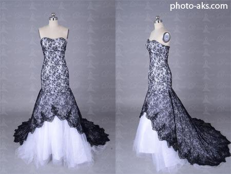 لباس عروس با گیپور سیاه black and white wedding dress