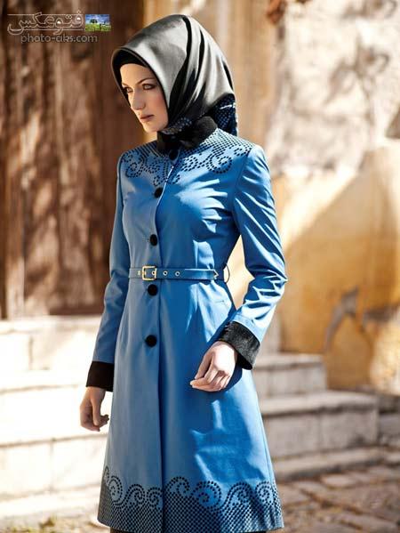 مانتو بلند اسلامی ترکیه ای blue trench coat