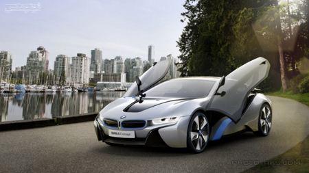 والپیپر BMW i8 با درهای باز open doors bmw i8