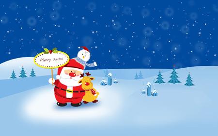 عکس کارتونی کریسمس و بابانوئل chrismas holiday wallpaper
