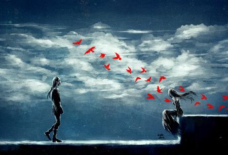 والپیپر رمانتیک دختر و پسر girl and boy red birds