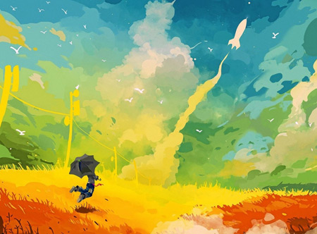 والپیپر انتزاعی نقاشی با رنگ های شاد clouds multicolor wallpaper