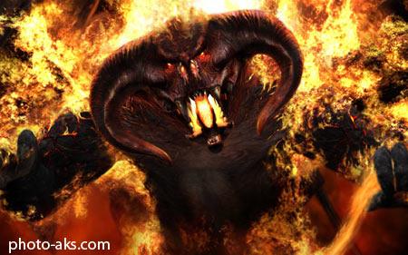 شیطان جهنمی devil wallpaper in fire