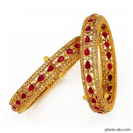 دستبند طلا با نگین قرمز diamond bandgles gold