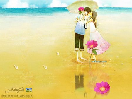 عکس دختر و پسر در کنار ساحل aks dokhtar o pesar kartoni