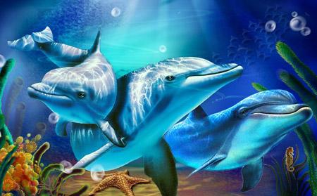 نقاشی زیبا از دلفین ها زیر آب dolphin painting wallpaper