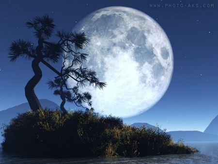 عکس فانتزی جزیره کوچک و ماه dream moon light