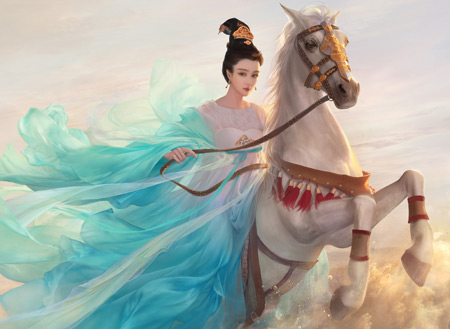 عکس فانتزی دختر سوار اسب girl horse fantazi