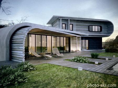 معماری سبز خانه چوبی مدرن green wooden home