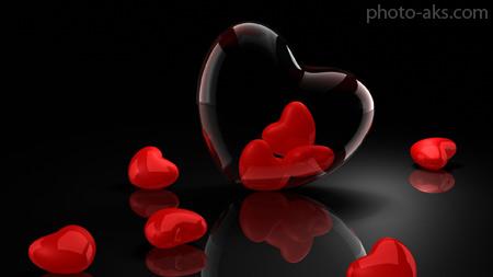 والپیپر 3 بعدی قلب شیشه ای heart love in glass