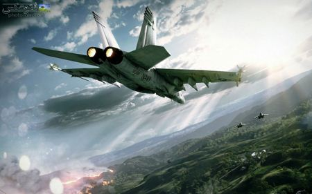 عکس حمله جت جنگنده در آسمان jet aircraft attack