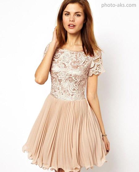 لباس مجلسی دخترانه کوتاه کرم lebas majlesi kerem arosaki