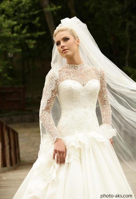 لباس عروس آستين بلند تور دانتل lebar aroos tor dantel