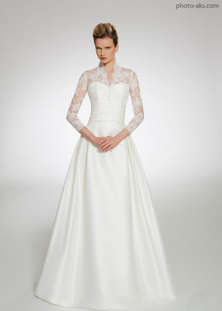 لباس عروس گیپور آستین بلند lebas aroos geipoor