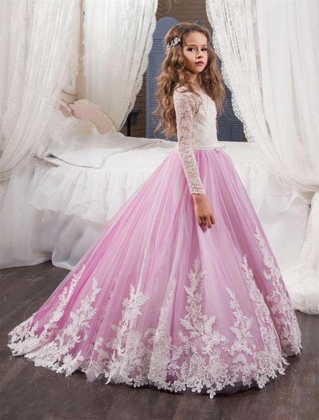 لباس عروس بچه گانه جدید light purple kids dress