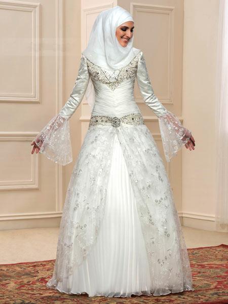 لباس عروس عربی آستین بلند long sleeve arabic wedding dress