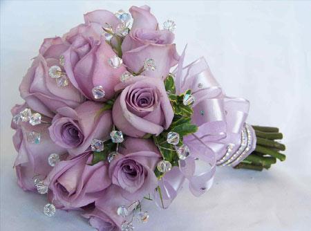 دسته گل رز ارغوانی purple rose flower