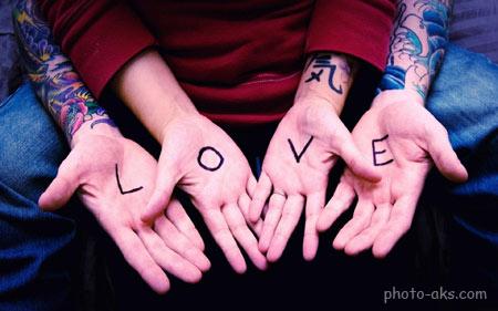 لاو روی دست دختر و پسر love written in hands