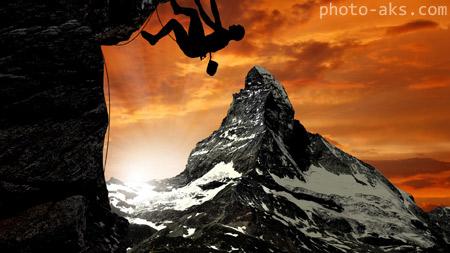 والپیپر ورزشی صخره نورد mountain climber