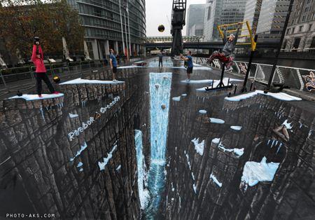 نقاشی سه بعدی در کف خیابان nagashi 3 bodi