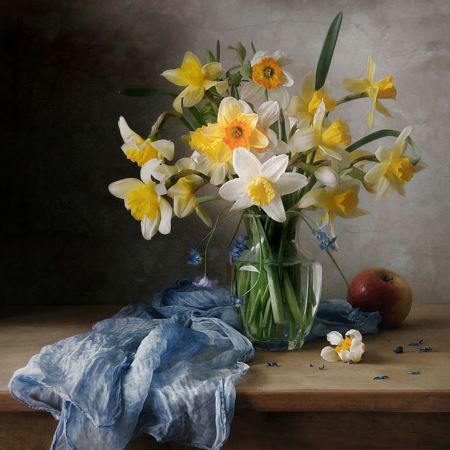 نقاشی گلدان گل نرگس goldan gole narges