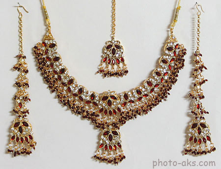 مدل سرویس طلای هندی خوشگل necklace with earring