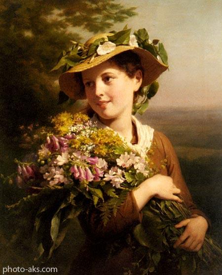 نقاشی رنگ روغن چهره دختر oil painting of girl