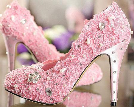 کفش عروسی صورتی گلدار پاشنه بلند pink wedding shoes